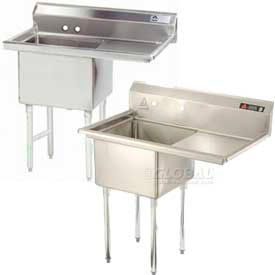 Freestanding One Compartment Right Drainboard Stainless Steel Sinks