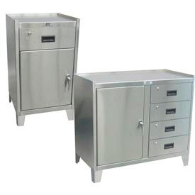 Counter High Stainless Steel Cabinets With Drawers