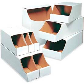 Stackable White Corrugated Bin Boxes