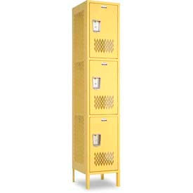 Penco Invincible II, 3 Tier, Ready To Assemble Steel Lockers With Recessed Handle