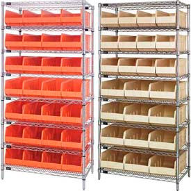Chrome Wire Shelving With Stackable Shelf Bins
