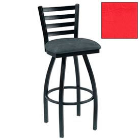"4 Slat-Back Swivel Bar Stool 17-1/2""W X 16""D X 43""H - Red - Pkg Qty 2"