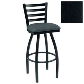 "4 Slat-Back Swivel Bar Stool 17-1/2""W X 16""D X 43""H - Black - Pkg Qty 2"