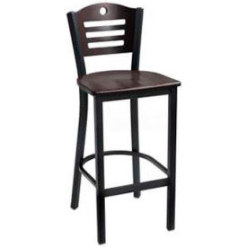 "Mahogany 3 Slat-Back Bar Stool 17-1/2""W X 16""D X 42""H - Hunter Green - Pkg Qty 2"