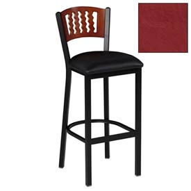 "Mahogany 5 Wave-Back Bar Stool 17-1/2""W X 17""D X 42""H - Burgundy - Pkg Qty 2"