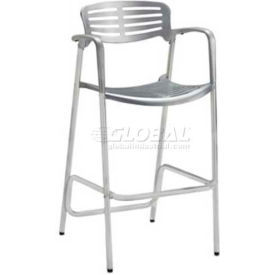 Premier Hospitality Furniture Aero Outdoor Cast Aluminum Bar Height Chair With Arms- Pkg Qty 1