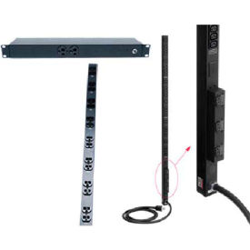"Hoffman DP1N160620S PDU, 20A, Surge prot, 6 outlet, 16""L, Steel/Black"