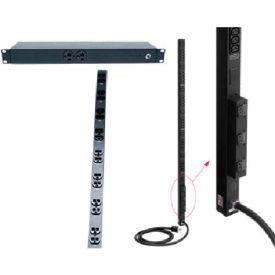 Hoffman DP1N191020ST PDU, 20A Surge, twist lk, 2f&8b outlet, 1RU, Fits 19in rack, Steel/Black