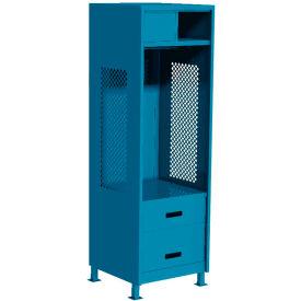 """Pucel All Welded Gear Locker w/Top Shelf Cabinet, Bottom 2 Drawers & Legs, 24""""W x 18""""D x 72""""H, Blue"""