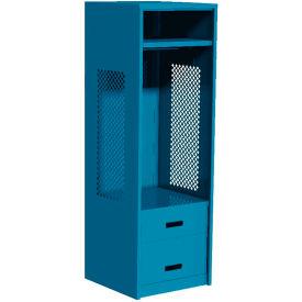 """Pucel All Welded Gear Locker w/Bottom 2 Drawers, 24""""W x 24""""D x 72""""H, Blue"""