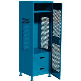"Pucel All Welded Gear Locker w/Bottom 2 Drawers, Perforated Door & Legs, 24""W x 24""D x 72""H, Blue"