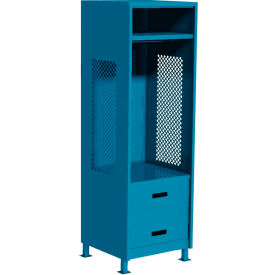 "Pucel All Welded Gear Locker w/Bottom 2 Drawers & Legs, 24""W x 24""D x 72""H, Blue"