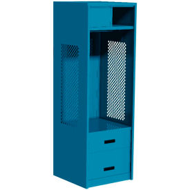 "Pucel All Welded Gear Locker w/Top Shelf Cabinet, Bottom 2 Drawers, 24""W x 24""D x 72""H, Blue"