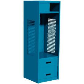 """Pucel All Welded Gear Locker w/Top Shelf Cabinet, Bottom 2 Drawers, 24""""W x 24""""D x 72""""H, Red"""
