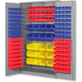 """Pucel All Welded Plastic Bin Cabinet Flush Doors w/132 Blue Bins, 36""""W x 24""""D x 72""""H, Gray"""