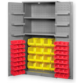 "Pucel All Welded Plastic Bin Cabinet Flush Doors w/84 Red Bins, 48""W x 24""D x 78""H, Gray"