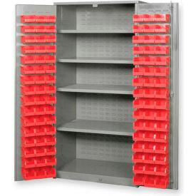 "Pucel All Welded Plastic Bin Cabinet Flush Doors w/128 Red Bins, 48""W x 24""D x 78""H, Light Blue"