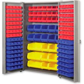 """Pucel All Welded Plastic Bin Cabinet Pocket Doors w/132 Blue Bins, 38""""W x 24""""D x 72""""H, Black"""