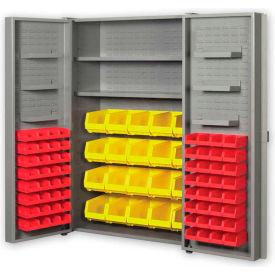"""Pucel All Welded Plastic Bin Cabinet Pocket Doors w/64 Red Bins, 38""""W x 24""""D x 72""""H, Light Blue"""