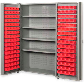 """Pucel All Welded Plastic Bin Cabinet Pocket Doors w/96 Red Bins, 38""""W x 24""""D x 72""""H, Black"""