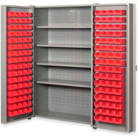 """Pucel All Welded Plastic Bin Cabinet Pocket Doors w/128 Red Bins, 48""""W x 24""""D x 72""""H, Light Blue"""