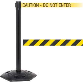 "WeatherMaster Xtra Black Post Belt Barrier, 3""W x 11 Ft. Yellow/Black Belt"