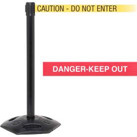 "WeatherMaster Xtra Black Post Belt Barrier, 3""W x 11 Ft. Yellow Caution Belt"