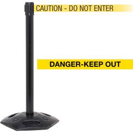 "WeatherMaster Xtra Black Post Belt Barrier, 3""W x 11 Ft. Yellow Danger Belt"
