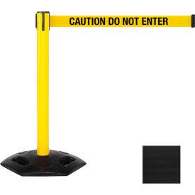 "WeatherMaster Xtra Yellow Post Belt Barrier, 3""W x 11 Ft. Black Belt"