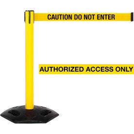 "WeatherMaster Xtra Yellow Post Belt Barrier, 3""W x 11 Ft. Yellow Authorized Belt"