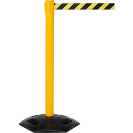 WeatherMaster Yellow Post Retracting Belt Barrier, 11 Ft. Red Authorized Belt
