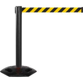 WeatherMaster 300 Black Post Retracting Belt Barrier, 16 Ft. Yellow/Black Belt