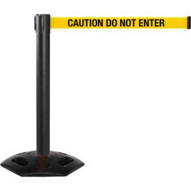 WeatherMaster 300 Black Post Retracting Belt Barrier, 16 Ft. Yellow Caution Belt