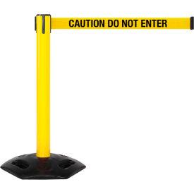 WeatherMaster 300 Yellow Post Retracting Belt Barrier, 16 Ft. Yellow Caution Belt