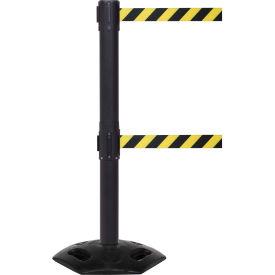 WeatherMaster Twin Black Post Retracting Belt Barrier, ADA Compliant, 11 Ft. Yellow/Black Belt