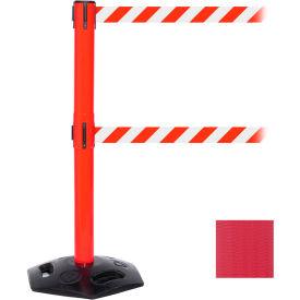WeatherMaster Twin Red Post Retracting Belt Barrier, ADA Compliant, 11 Ft. Red Belt