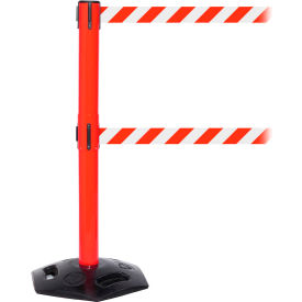 WeatherMaster Twin Red Post Retracting Belt Barrier, ADA Compliant, 11 Ft. Red/White Belt