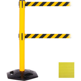 WeatherMaster Twin Yellow Post Retracting Belt Barrier, ADA Compliant, 11 Ft. Yellow Belt