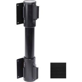 WallPro Twin Black Post Retracting Belt Barrier, 7.5 Ft. Black Belt