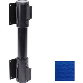 WallPro Twin Black Post Retracting Belt Barrier, 7.5 Ft. Blue Belt