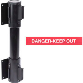 WallPro Twin Black Post Retracting Belt Barrier, 7.5 Ft. Red Danger Belt