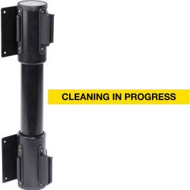 WallPro Twin Black Post Retracting Belt Barrier, 10 Ft. Yellow Clean In Progress Belt