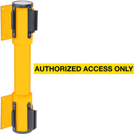 WallPro Twin Yellow Post Retracting Belt Barrier, 7.5 Ft. Yellow Authorized Belt