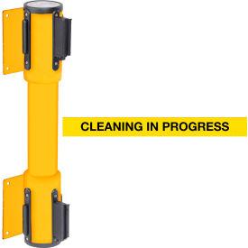 WallPro Twin Yellow Post Retracting Belt Barrier, 10 Ft. Yellow Clean In Progress Belt