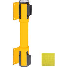 WallPro Twin Yellow Post Retracting Belt Barrier, 10 Ft. Yellow Belt