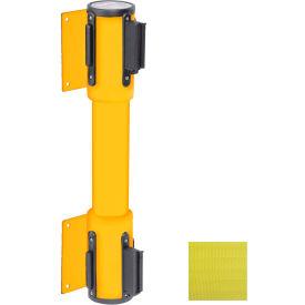 WallPro Twin Yellow Post Retracting Belt Barrier, 7.5 Ft. Yellow Belt
