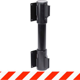 WallPro Twin Black Post Retracting Belt Barrier, 13 Ft. Red/White Belt