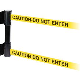 WallPro Twin Black Post Retracting Belt Barrier, 13 Ft. Yellow Caution Belt
