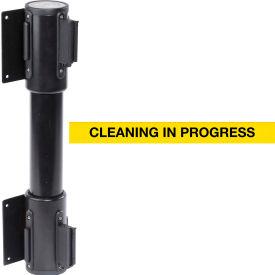WallPro Twin Black Post Retracting Belt Barrier, 13 Ft. Yellow Clean In Progress Belt