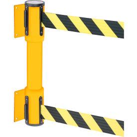 WallPro Twin Yellow Post Retracting Belt Barrier, 13 Ft. Yellow/Black Belt